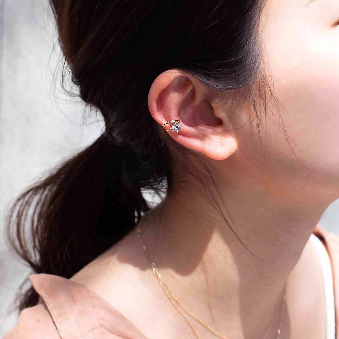 アクアマリン×ダイヤモンド K10イヤーカフ・ソルベ
