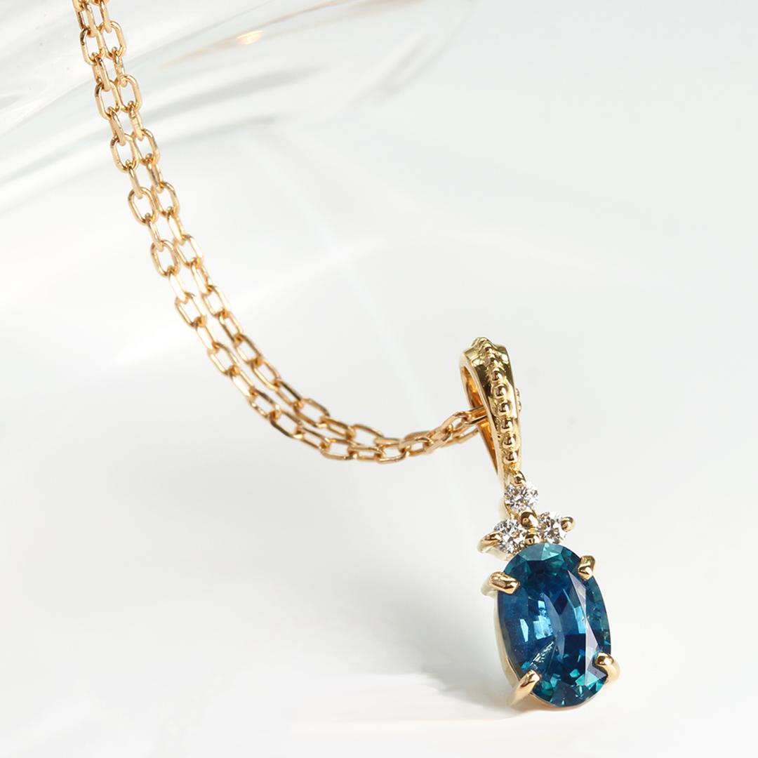 モンタナサファイア×ダイヤモンド K18/PTペンダントトップ・フラヴィ