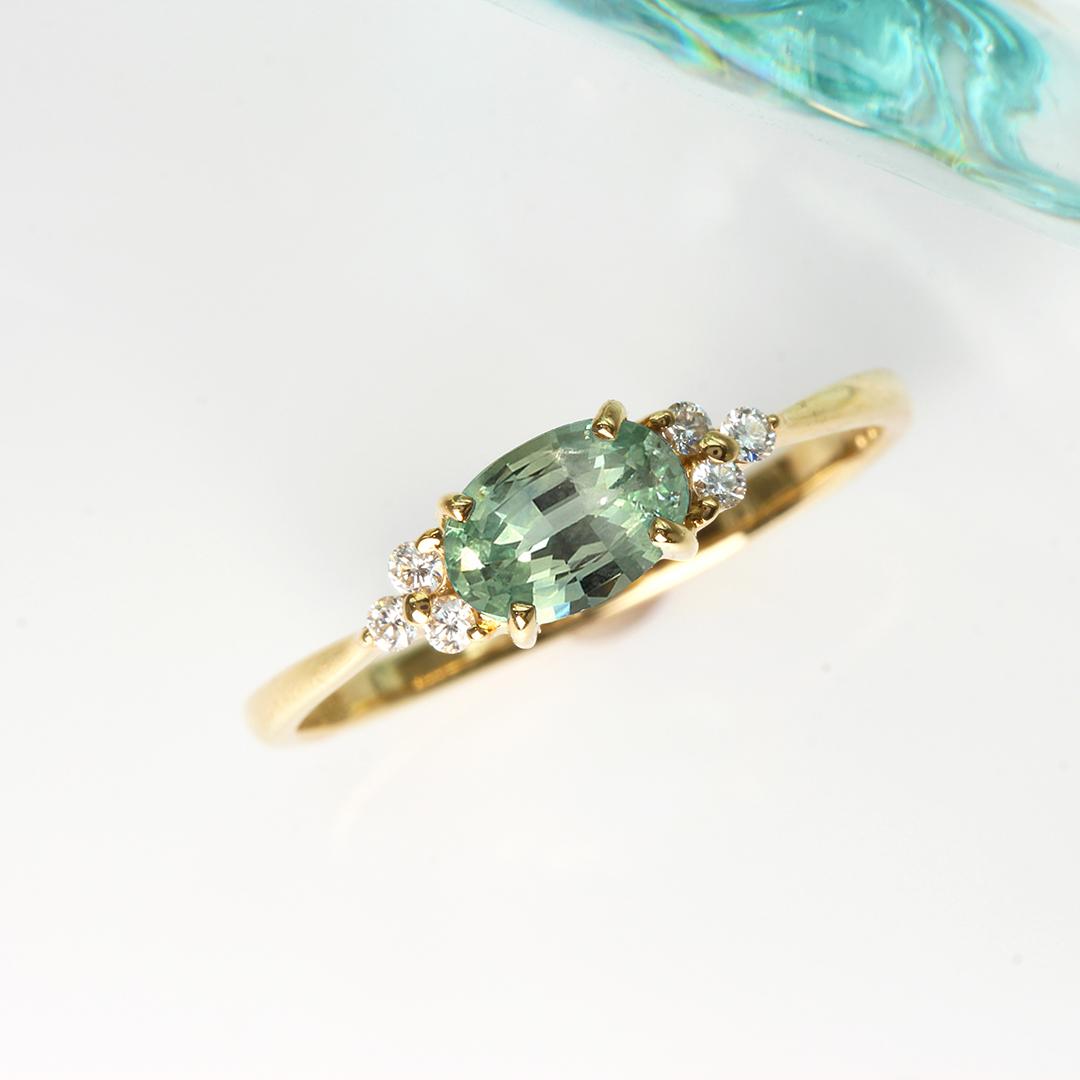 モンタナサファイア×ダイヤモンド K18/PTリング・フラヴィ