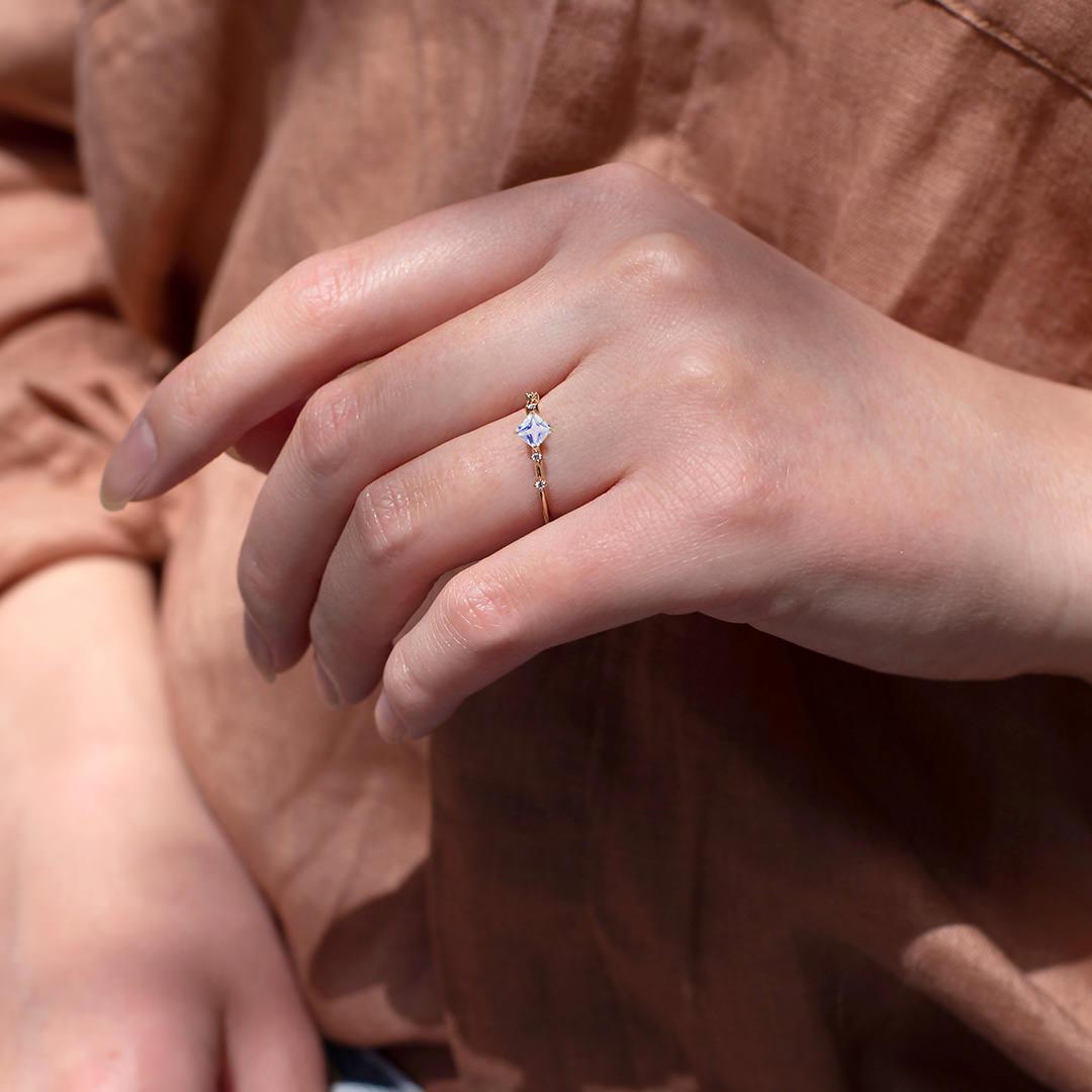 ブルームーンストーン×ダイヤモンド×K10リング・ソルベ