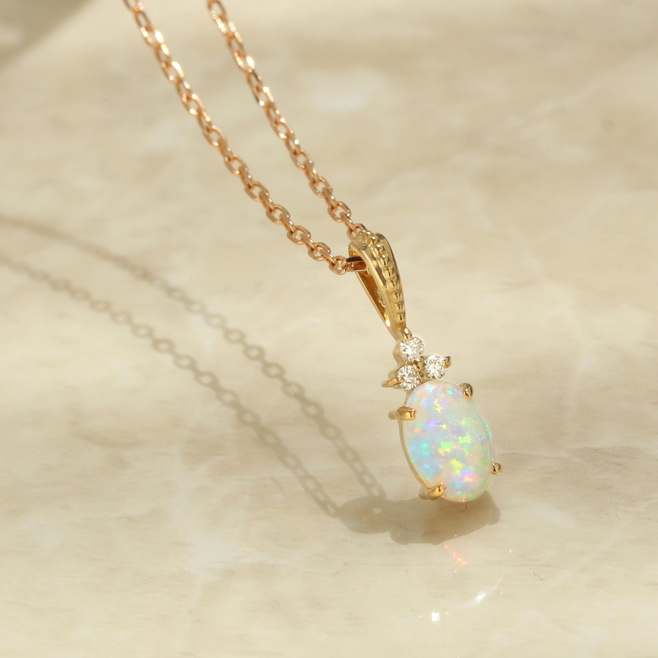 オパール(オーストラリア産)×ダイヤモンド K18/PTペンダントトップ・フラヴィ